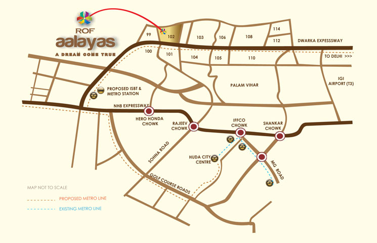 ROF AALAYAS Location map Sector 102 Gurgaon
