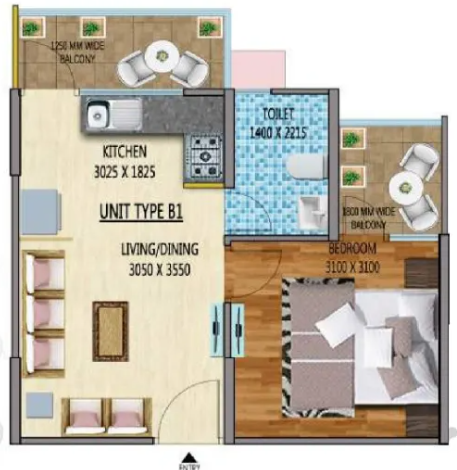 1 BHK Apartment Floorplan of Mahia Homes 63A gurgaon