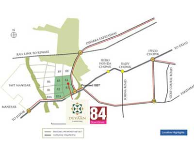 Location Map of Pivotal Devaan Sector 84 Gurgaon